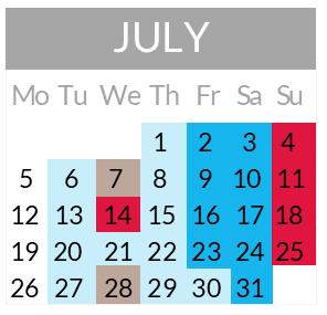 Calendrier départs juillet 2021