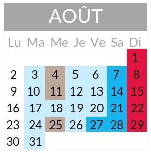 Calendrier départs août 2021