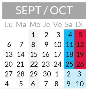 Calendrier départs septembre et octobre 2021